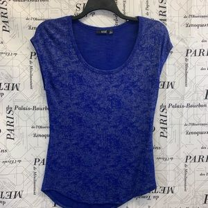 Ana Blue and Silver Knit Top